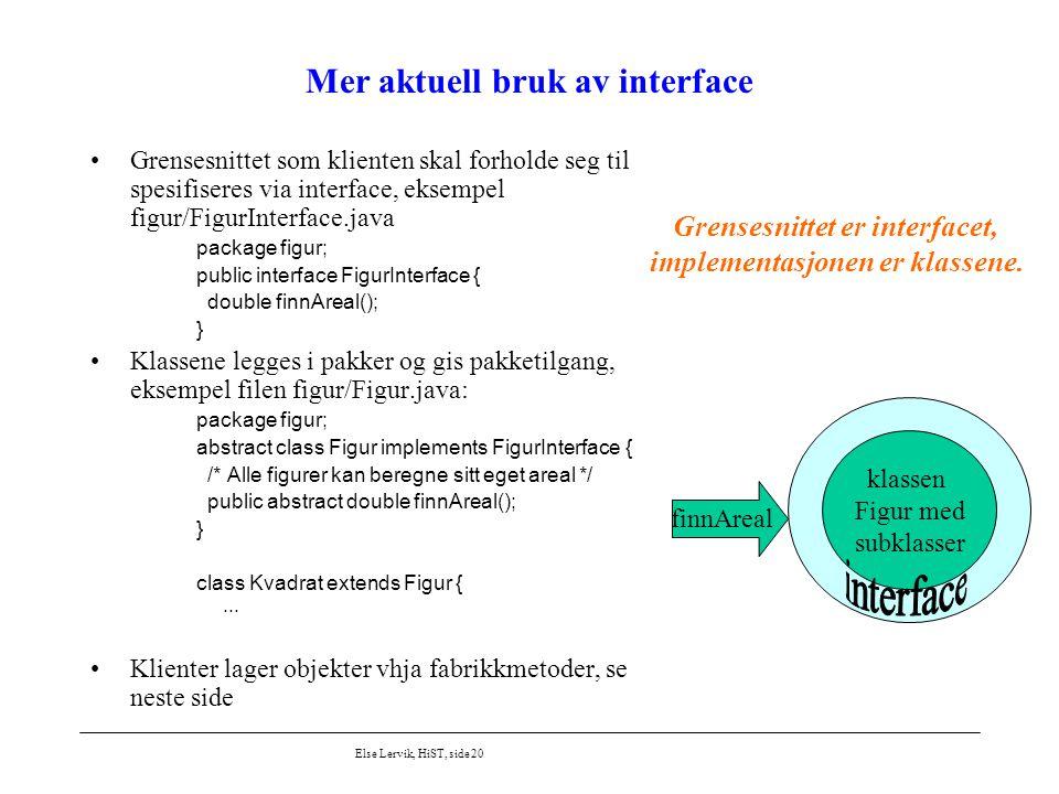 Else Lervik, HiST, side 20 Mer aktuell bruk av interface Grensesnittet som klienten skal forholde seg til spesifiseres via interface, eksempel figur/F