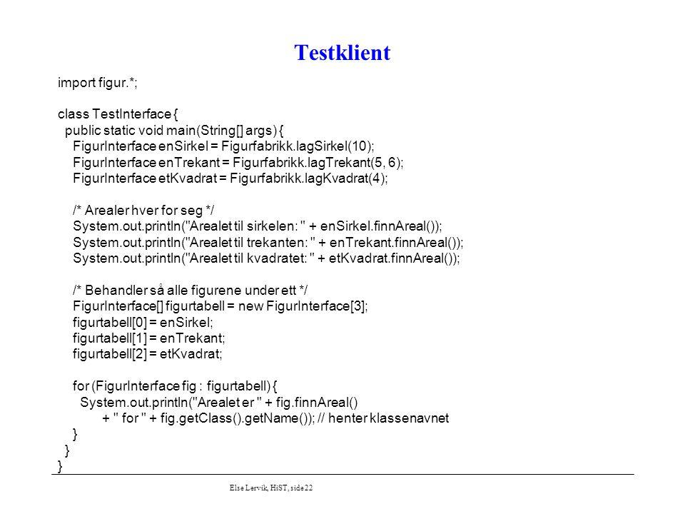 Else Lervik, HiST, side 22 Testklient import figur.*; class TestInterface { public static void main(String[] args) { FigurInterface enSirkel = Figurfa