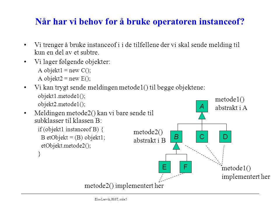 Else Lervik, HiST, side 5 Når har vi behov for å bruke operatoren instanceof? Vi trenger å bruke instanceof i i de tilfellene der vi skal sende meldin
