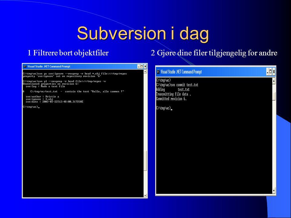 Subversion i dag 1 Filtrere bort objektfiler2 Gjøre dine filer tilgjengelig for andre