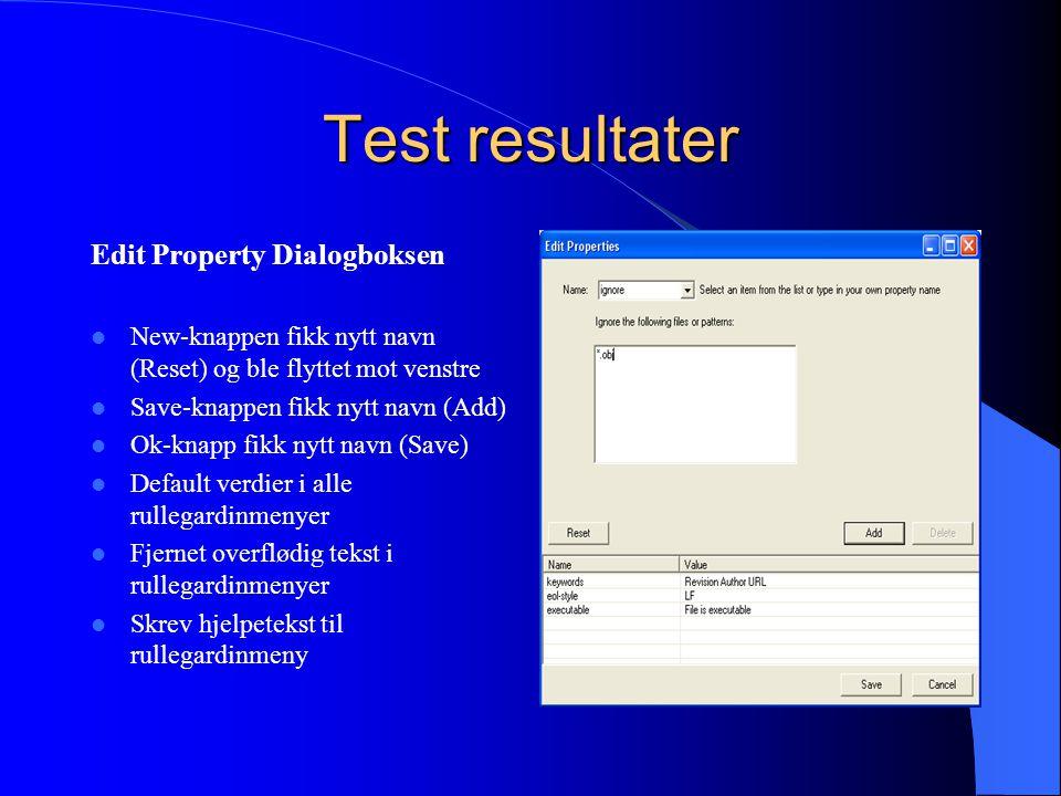 Test resultater Edit Property Dialogboksen New-knappen fikk nytt navn (Reset) og ble flyttet mot venstre Save-knappen fikk nytt navn (Add) Ok-knapp fikk nytt navn (Save) Default verdier i alle rullegardinmenyer Fjernet overflødig tekst i rullegardinmenyer Skrev hjelpetekst til rullegardinmeny