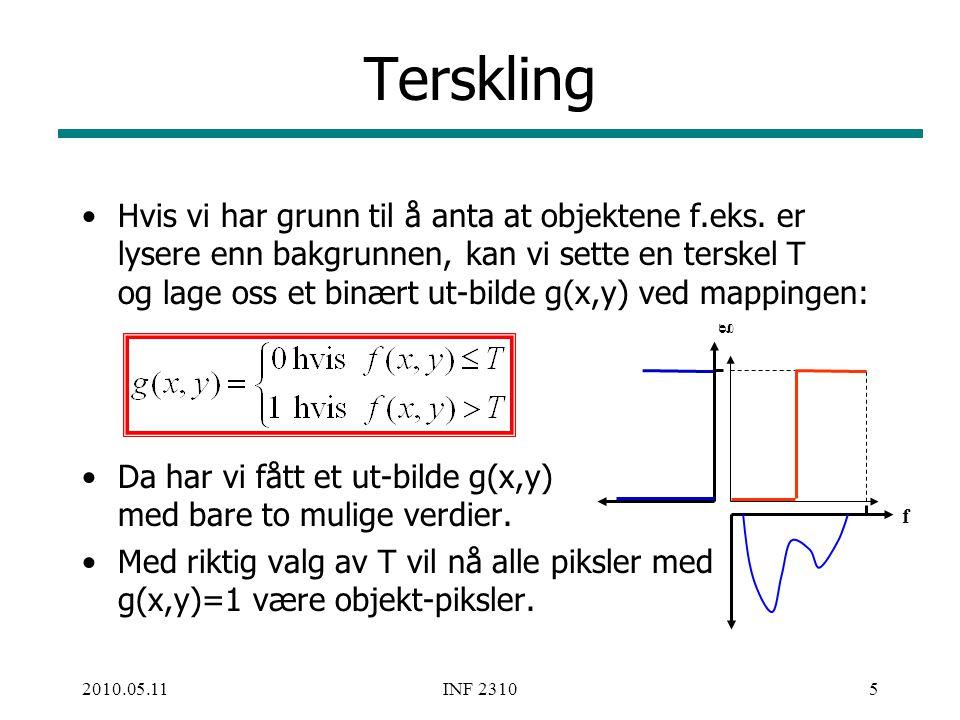 2010.05.11INF 231016 Optimal løsning – to Gauss-fordelinger Vi vet at optimal løsning ligger der hvor Vi setter inn for b(z) og f(z): Vi kan stryke  2  og ta logaritmen: Dette gir en annengrads-ligning i T: Vi kan altså få to løsninger for T.