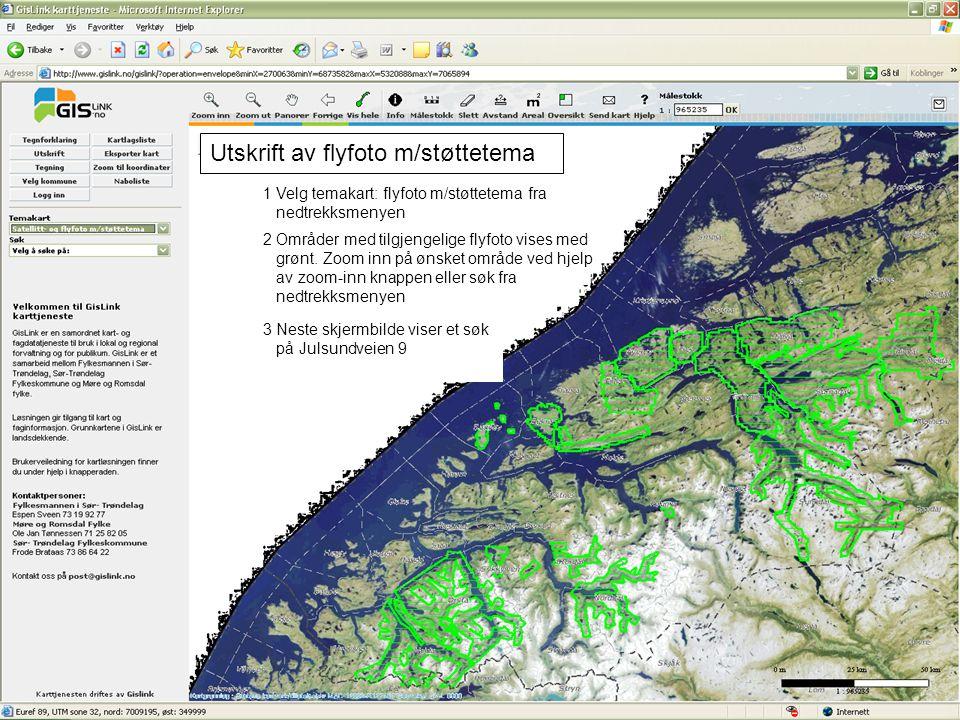 Utskrift av flyfoto m/støttetema 1 Velg temakart: flyfoto m/støttetema fra nedtrekksmenyen 2 Områder med tilgjengelige flyfoto vises med grønt. Zoom i
