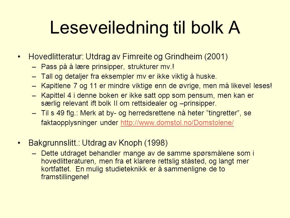 Leseveiledning til bolk A Hovedlitteratur: Utdrag av Fimreite og Grindheim (2001) –Pass på å lære prinsipper, strukturer mv..