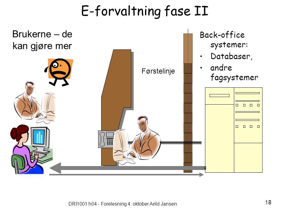 DRI1001 h04 - Forelesning 4. oktober Arild Jansen 18 E-forvaltning fase II Back-office systemer: Databaser, andre fagsystemer Brukerne – de kan gjøre