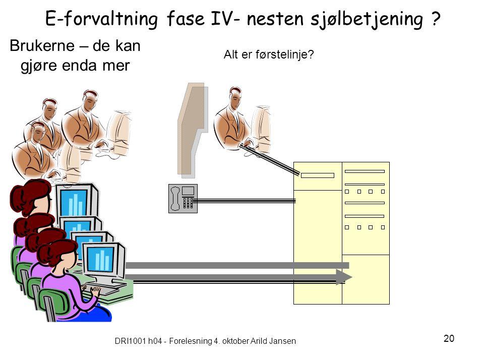 DRI1001 h04 - Forelesning 4. oktober Arild Jansen 20 E-forvaltning fase IV- nesten sjølbetjening ? Brukerne – de kan gjøre enda mer Alt er førstelinje