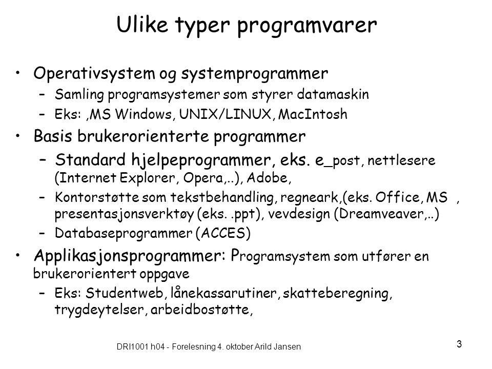 DRI1001 h04 - Forelesning 4. oktober Arild Jansen 3 Ulike typer programvarer Operativsystem og systemprogrammer –Samling programsystemer som styrer da