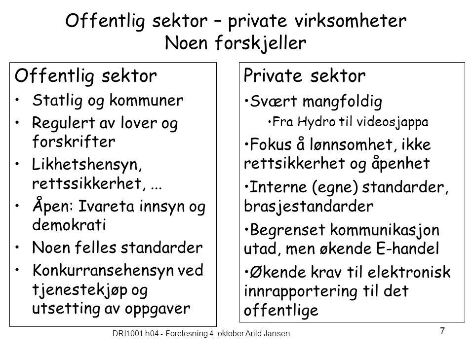 DRI1001 h04 - Forelesning 4. oktober Arild Jansen 7 Offentlig sektor – private virksomheter Noen forskjeller Offentlig sektor Statlig og kommuner Regu