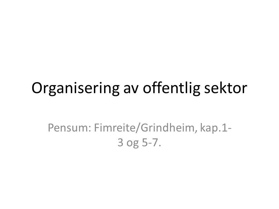 Organisering av offentlig sektor Pensum: Fimreite/Grindheim, kap.1- 3 og 5-7.