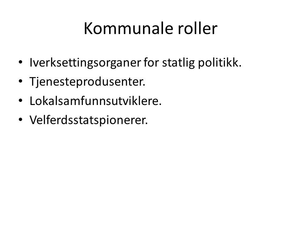 Kommunale roller Iverksettingsorganer for statlig politikk. Tjenesteprodusenter. Lokalsamfunnsutviklere. Velferdsstatspionerer.