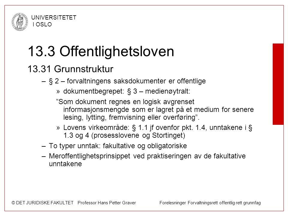 © DET JURIDISKE FAKULTET Professor Hans Petter Graver Forelesninger Forvaltningsrett offentlig rett grunnfag UNIVERSITETET I OSLO 13.3 Offentlighetslo