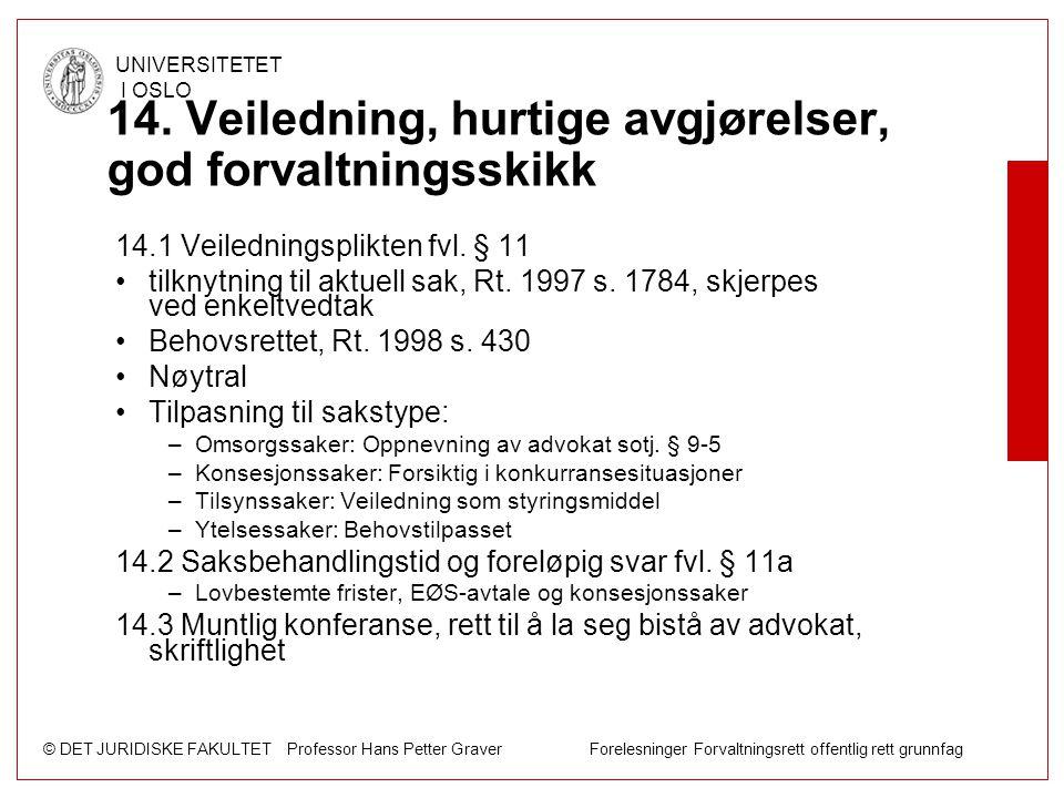 © DET JURIDISKE FAKULTET Professor Hans Petter Graver Forelesninger Forvaltningsrett offentlig rett grunnfag UNIVERSITETET I OSLO 14. Veiledning, hurt