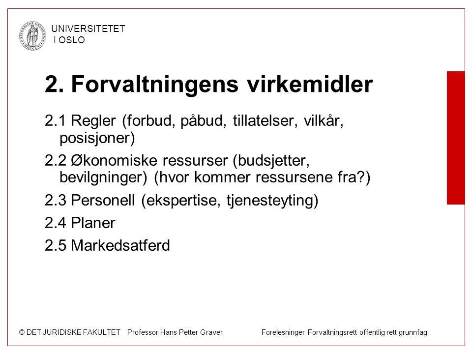 © DET JURIDISKE FAKULTET Professor Hans Petter Graver Forelesninger Forvaltningsrett offentlig rett grunnfag UNIVERSITETET I OSLO 2. Forvaltningens vi