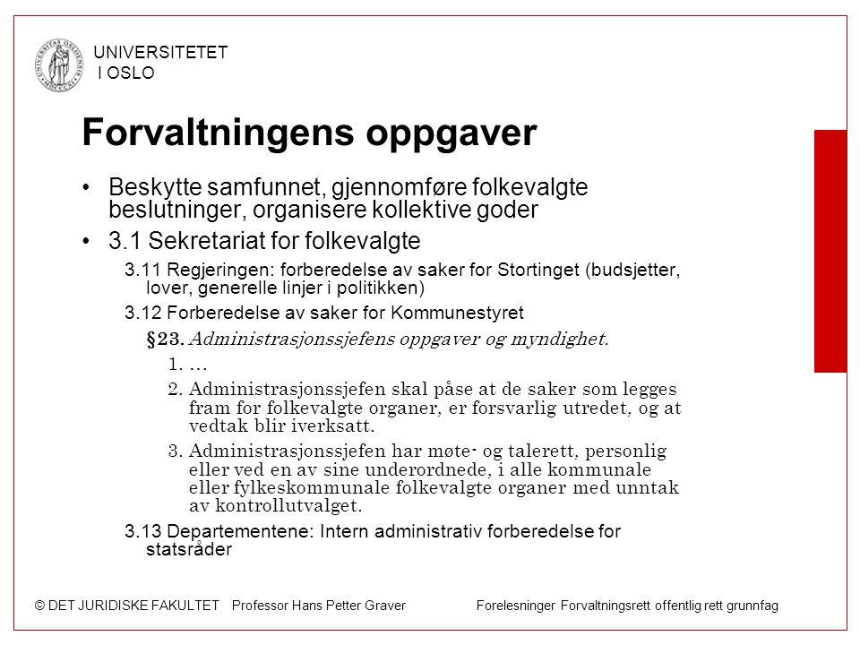 © DET JURIDISKE FAKULTET Professor Hans Petter Graver Forelesninger Forvaltningsrett offentlig rett grunnfag UNIVERSITETET I OSLO Forvaltningens oppga