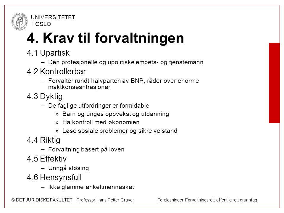 © DET JURIDISKE FAKULTET Professor Hans Petter Graver Forelesninger Forvaltningsrett offentlig rett grunnfag UNIVERSITETET I OSLO 4. Krav til forvaltn