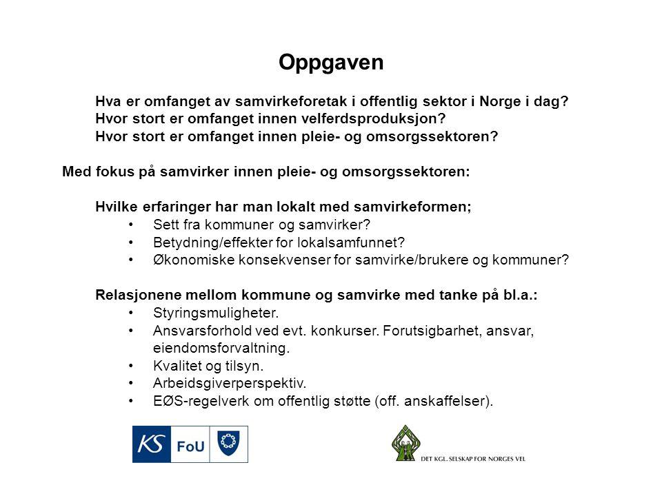 Hva er omfanget av samvirkeforetak i offentlig sektor i Norge i dag.