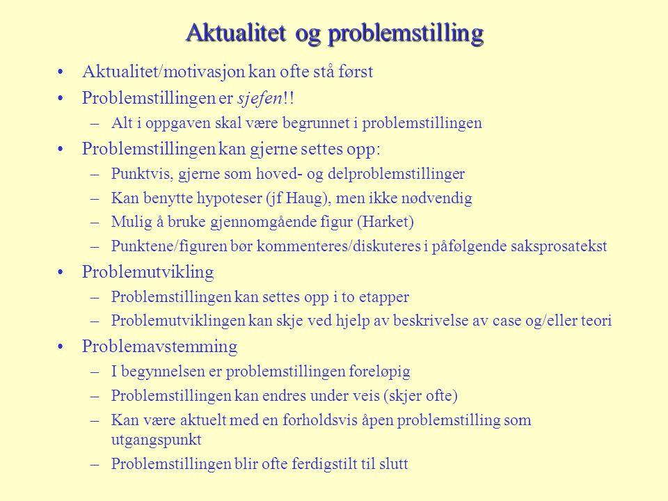 Aktualitet og problemstilling Aktualitet/motivasjon kan ofte stå først Problemstillingen er sjefen!! –Alt i oppgaven skal være begrunnet i problemstil
