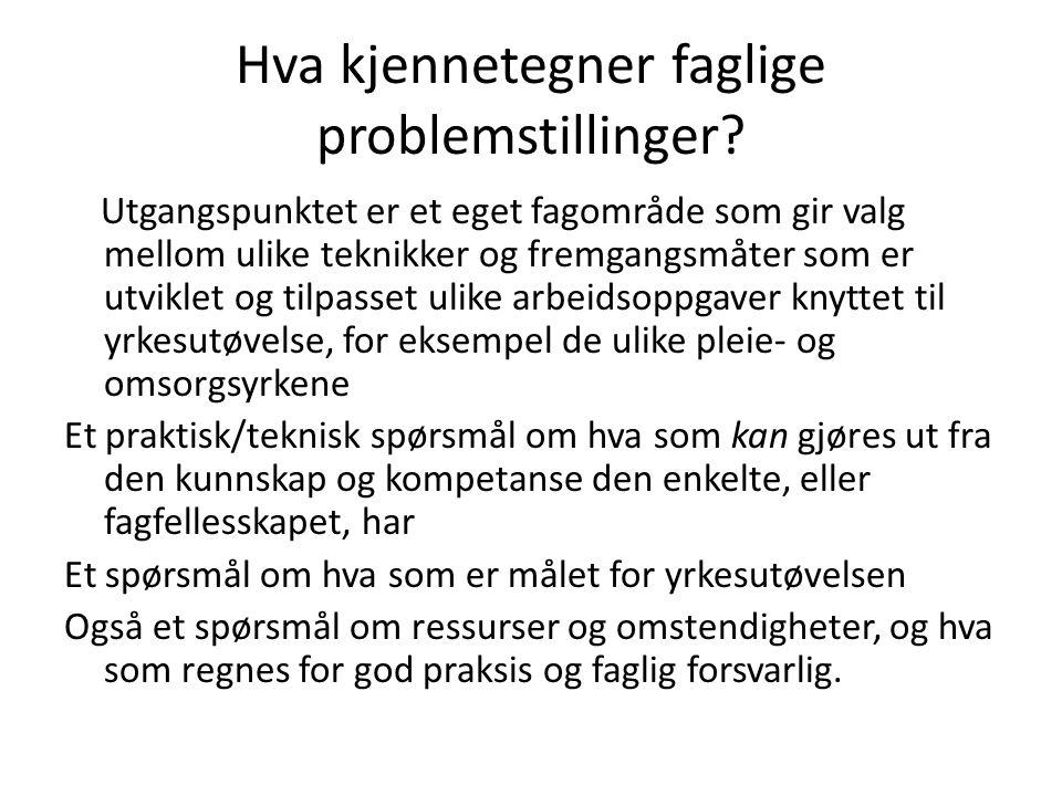 Hva kjennetegner faglige problemstillinger.