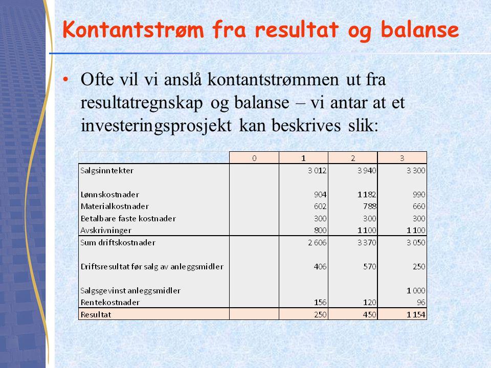 Kontantstrøm fra resultat og balanse Ofte vil vi anslå kontantstrømmen ut fra resultatregnskap og balanse – vi antar at et investeringsprosjekt kan be