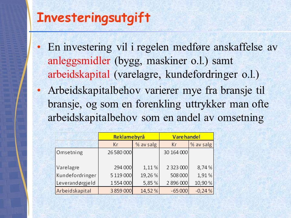 Investeringsutgift En investering vil i regelen medføre anskaffelse av anleggsmidler (bygg, maskiner o.l.) samt arbeidskapital (varelagre, kundefordri