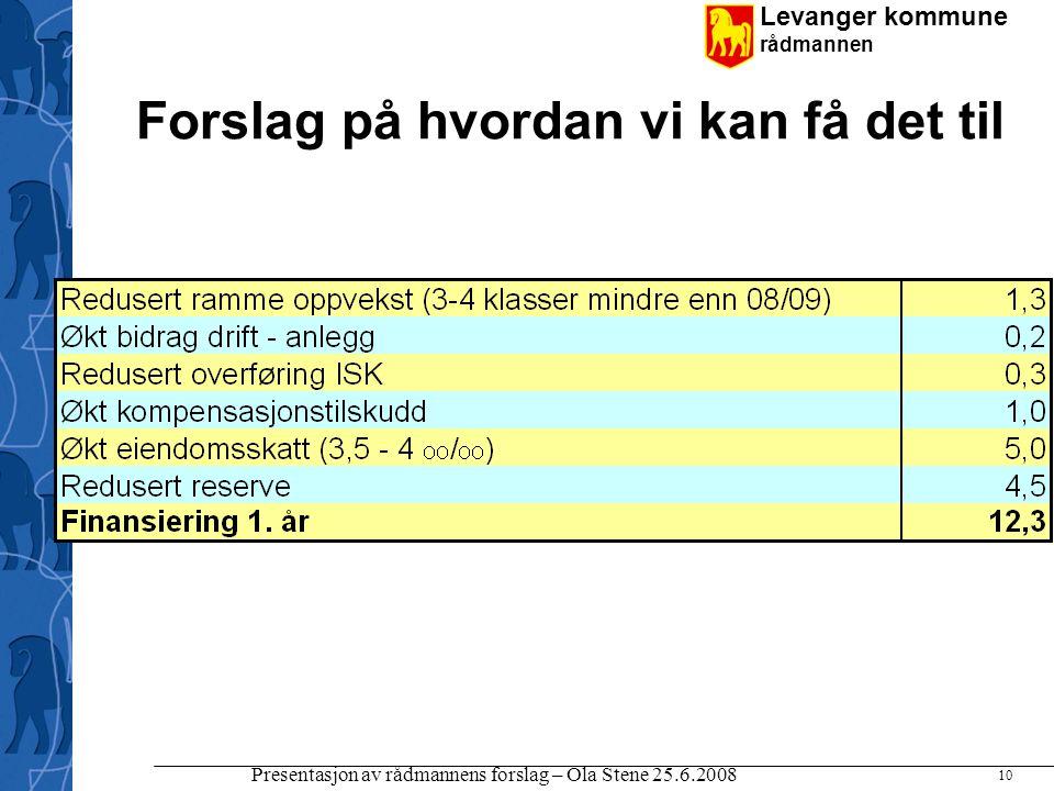 Levanger kommune rådmannen Presentasjon av rådmannens forslag – Ola Stene 25.6.2008 10 Forslag på hvordan vi kan få det til