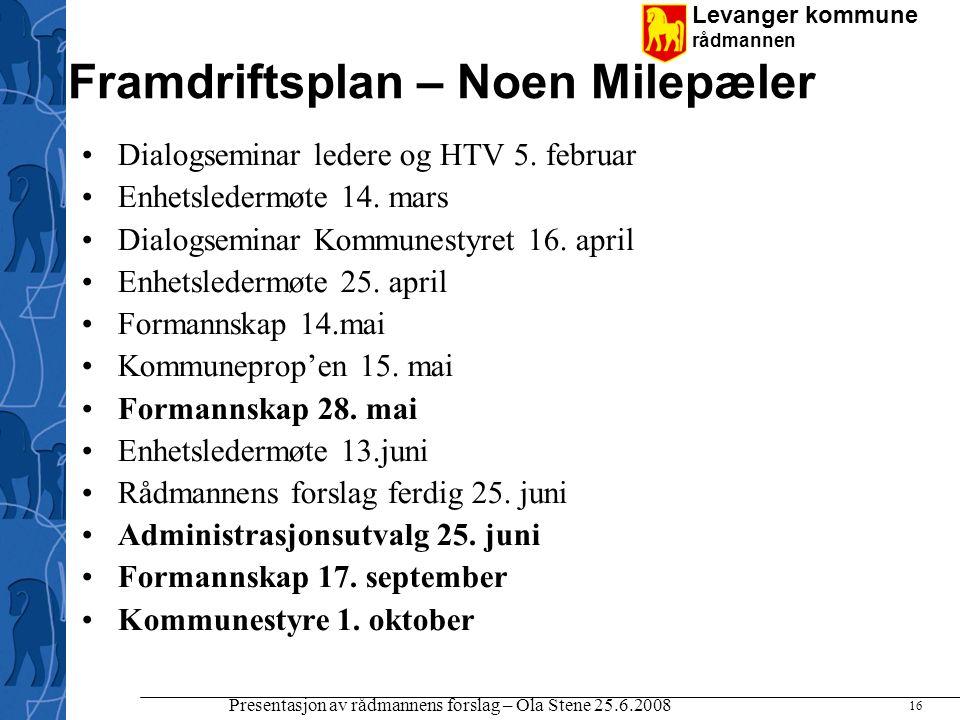 Levanger kommune rådmannen Presentasjon av rådmannens forslag – Ola Stene 25.6.2008 16 Framdriftsplan – Noen Milepæler Dialogseminar ledere og HTV 5.