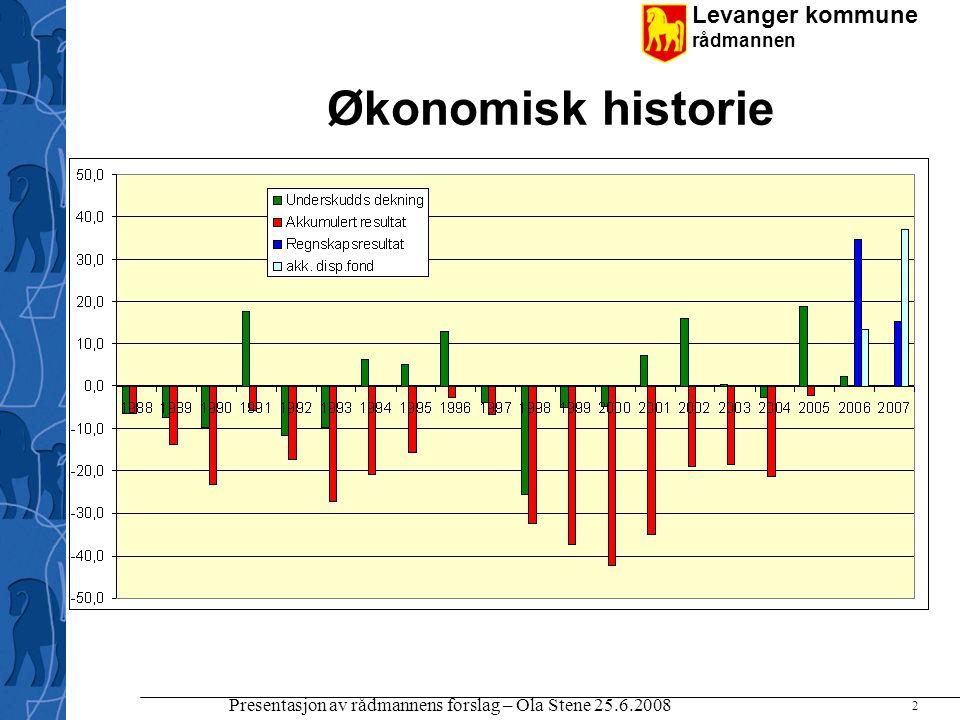 Levanger kommune rådmannen Presentasjon av rådmannens forslag – Ola Stene 25.6.2008 2 Økonomisk historie