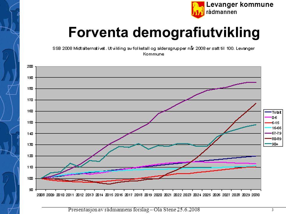 Levanger kommune rådmannen Presentasjon av rådmannens forslag – Ola Stene 25.6.2008 3 Forventa demografiutvikling