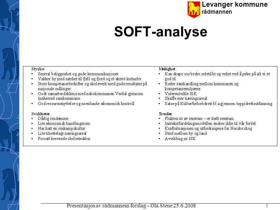 Levanger kommune rådmannen Presentasjon av rådmannens forslag – Ola Stene 25.6.2008 5 SOFT-analyse