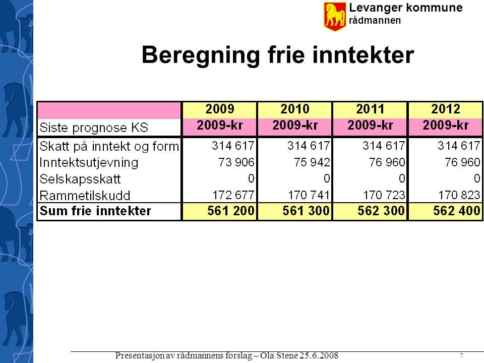Levanger kommune rådmannen Presentasjon av rådmannens forslag – Ola Stene 25.6.2008 7 Beregning frie inntekter