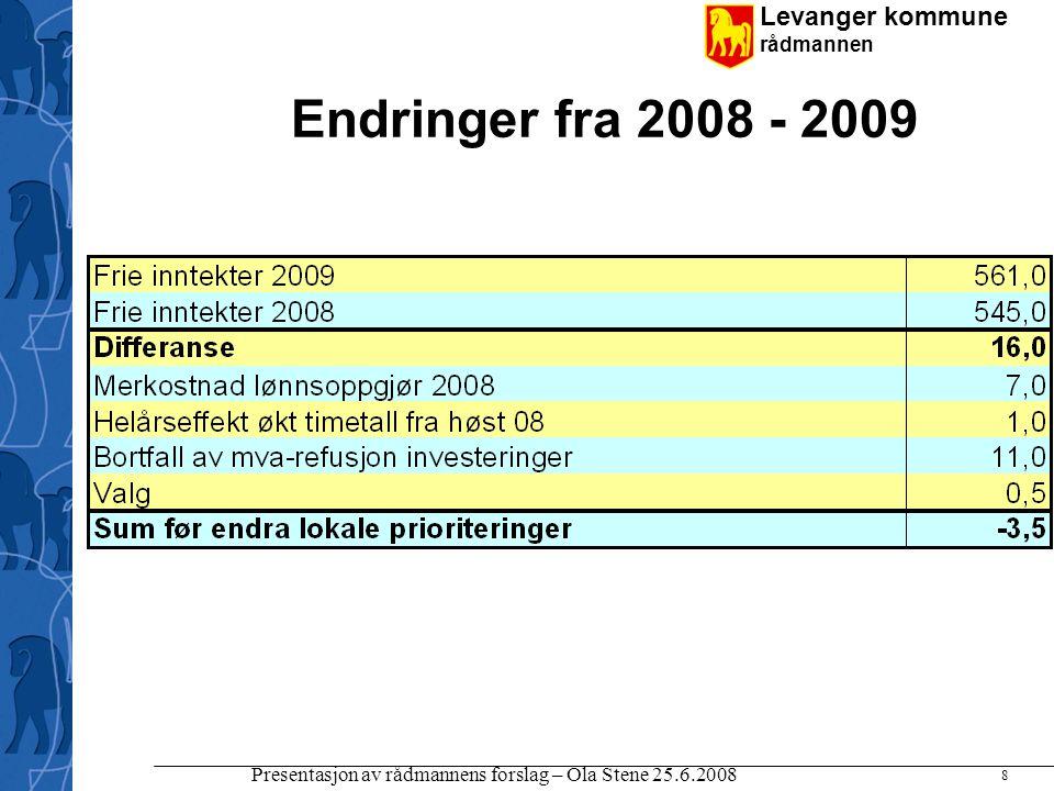 Levanger kommune rådmannen Presentasjon av rådmannens forslag – Ola Stene 25.6.2008 8 Endringer fra 2008 - 2009