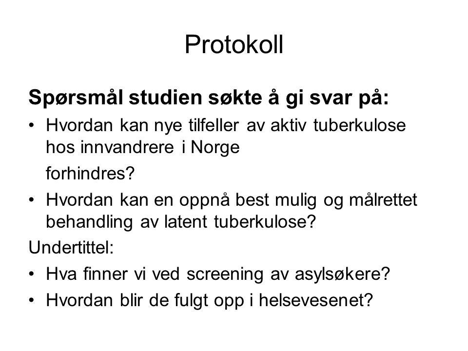 Protokoll Spørsmål studien søkte å gi svar på: Hvordan kan nye tilfeller av aktiv tuberkulose hos innvandrere i Norge forhindres.
