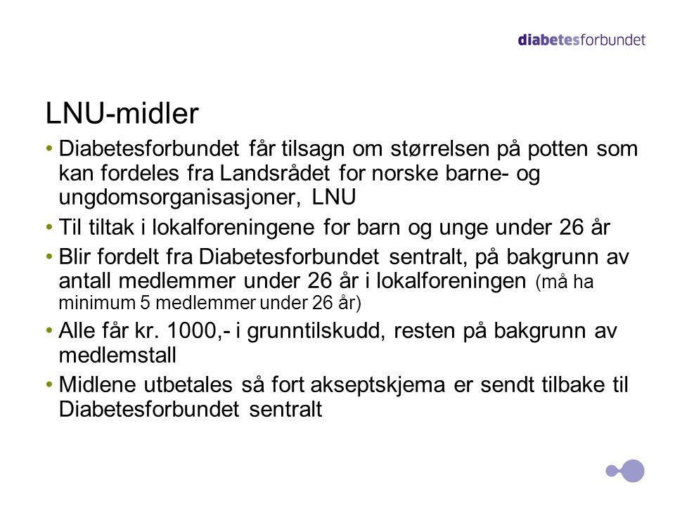 LNU-midler Diabetesforbundet får tilsagn om størrelsen på potten som kan fordeles fra Landsrådet for norske barne- og ungdomsorganisasjoner, LNU Til t