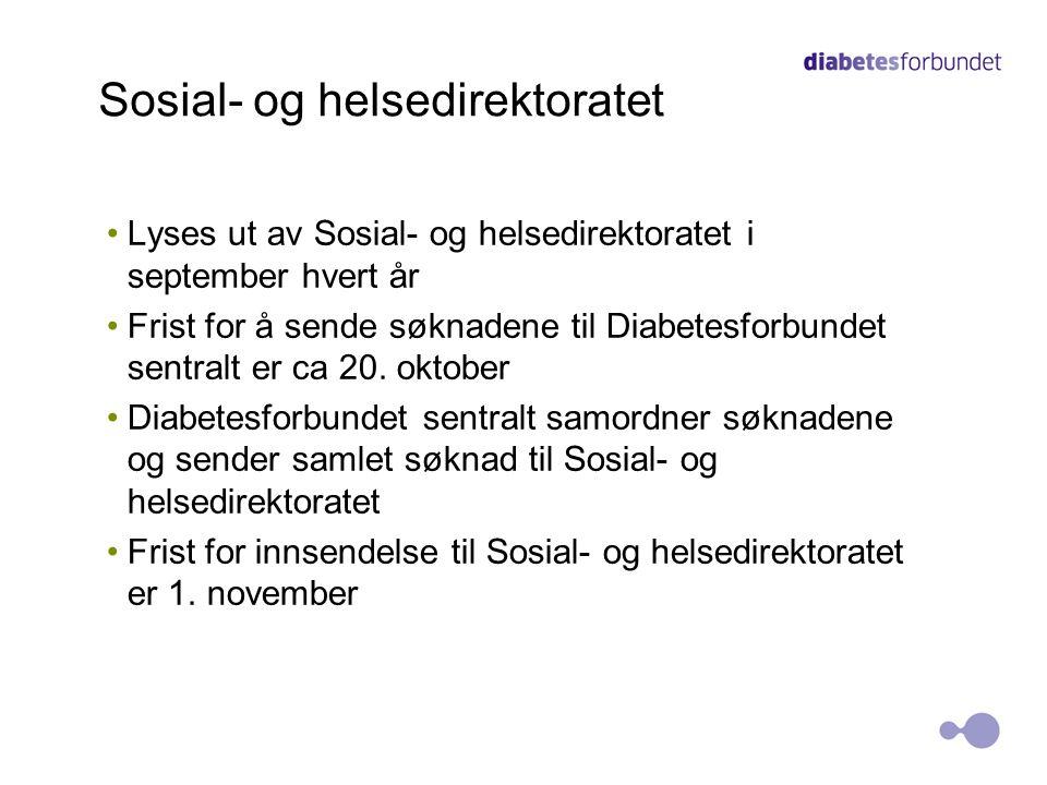Sosial- og helsedirektoratet Lyses ut av Sosial- og helsedirektoratet i september hvert år Frist for å sende søknadene til Diabetesforbundet sentralt