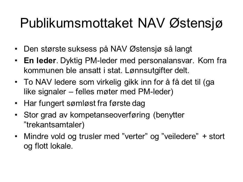 Publikumsmottaket NAV Østensjø Den største suksess på NAV Østensjø så langt En leder. Dyktig PM-leder med personalansvar. Kom fra kommunen ble ansatt