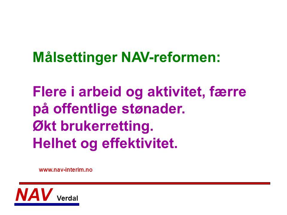 NAV Verdal Målsettinger NAV-reformen: Flere i arbeid og aktivitet, færre på offentlige stønader. Økt brukerretting. Helhet og effektivitet. www.nav-in