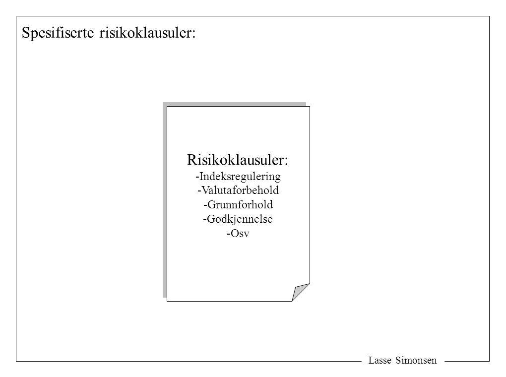 Lasse Simonsen Spesifiserte risikoklausuler: Risikoklausuler: -Indeksregulering -Valutaforbehold -Grunnforhold -Godkjennelse -Osv Risikoklausuler: -In