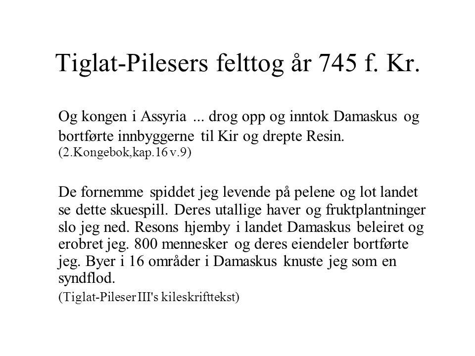 Tiglat-Pilesers felttog år 745 f. Kr. Og kongen i Assyria...