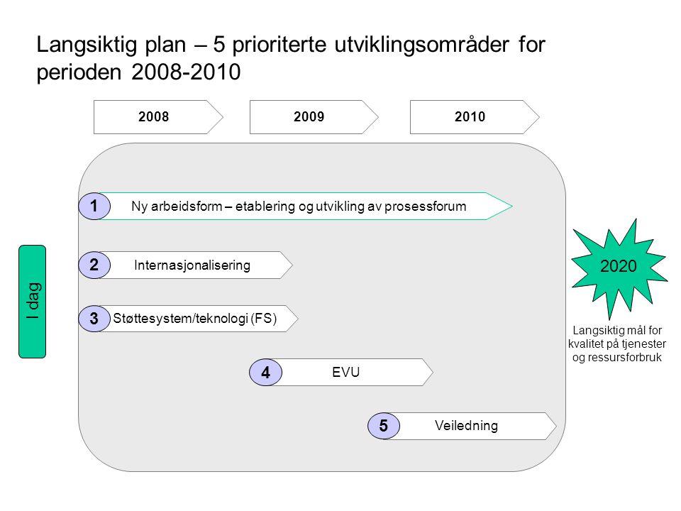 Langsiktig plan – 5 prioriterte utviklingsområder for perioden 2008-2010 Ny arbeidsform – etablering og utvikling av prosessforum Internasjonalisering