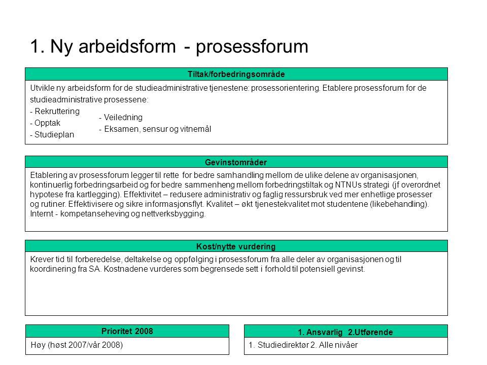 1. Ny arbeidsform - prosessforum Kost/nytte vurdering Krever tid til forberedelse, deltakelse og oppfølging i prosessforum fra alle deler av organisas