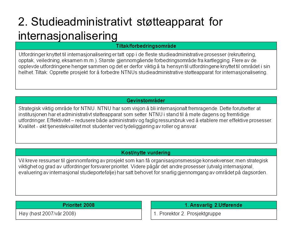 2. Studieadministrativt støtteapparat for internasjonalisering Kost/nytte vurdering Vil kreve ressurser til gjennomføring av prosjekt som kan få organ
