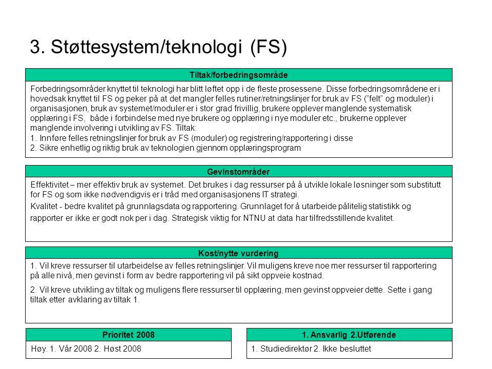 3. Støttesystem/teknologi (FS) Kost/nytte vurdering 1. Vil kreve ressurser til utarbeidelse av felles retningslinjer. Vil muligens kreve noe mer ressu