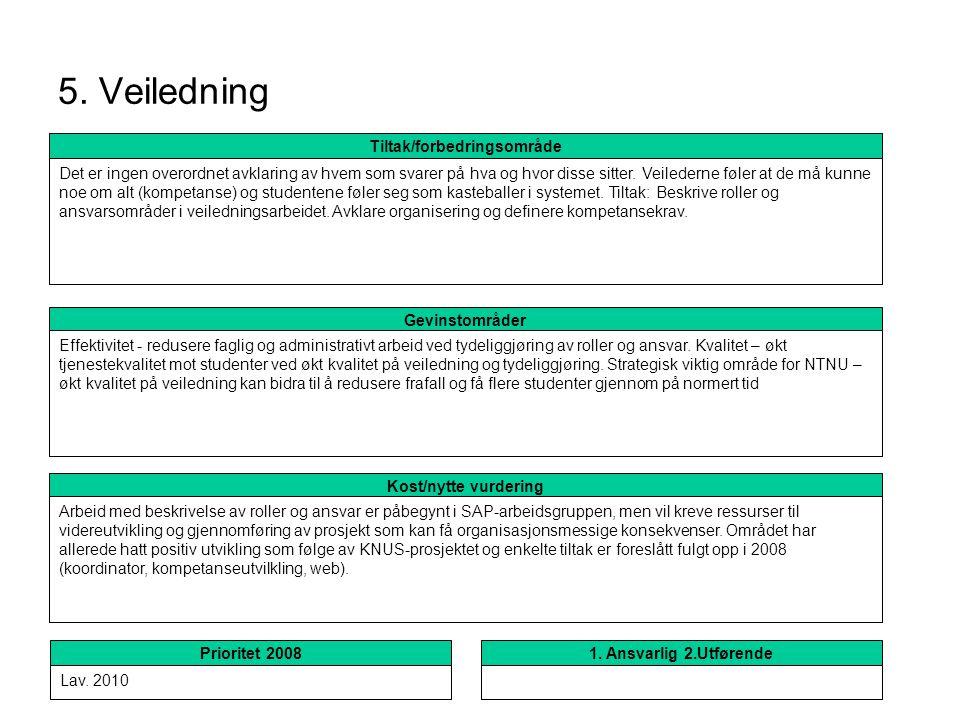 5. Veiledning Kost/nytte vurdering Arbeid med beskrivelse av roller og ansvar er påbegynt i SAP-arbeidsgruppen, men vil kreve ressurser til videreutvi