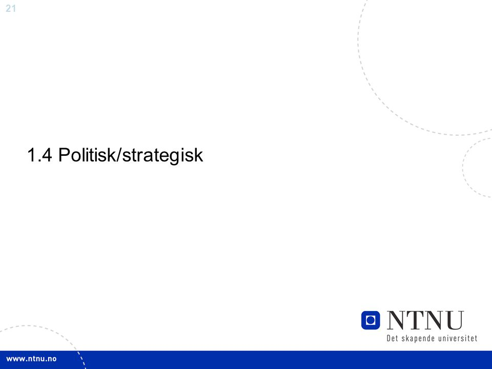21 1.4 Politisk/strategisk