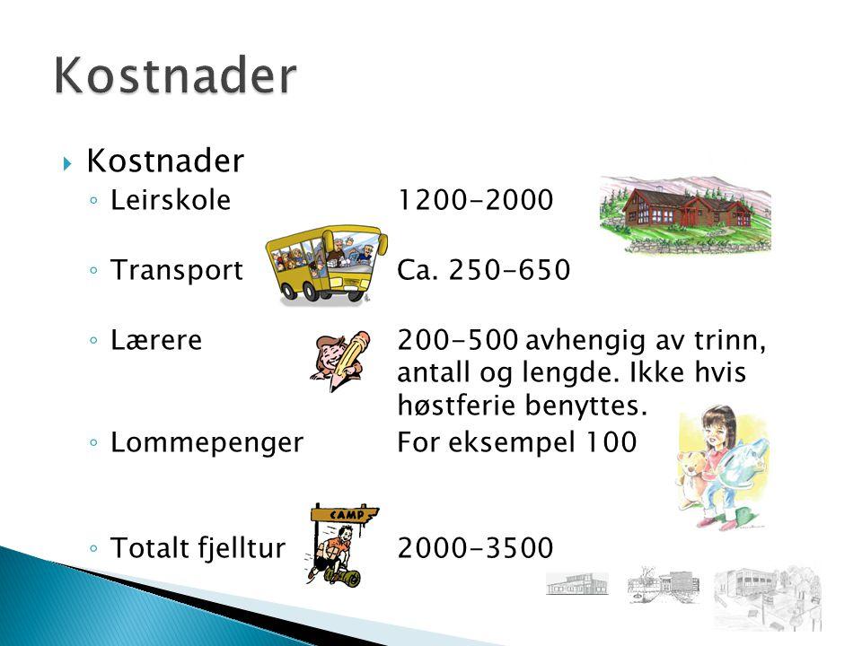  Kostnader ◦ Leirskole1200-2000 ◦ Transport Ca.