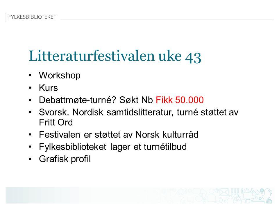 Litteraturfestivalen uke 43 Workshop Kurs Debattmøte-turné.