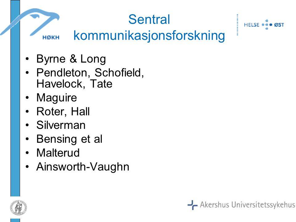 Sentral kommunikasjonsforskning Byrne & Long Pendleton, Schofield, Havelock, Tate Maguire Roter, Hall Silverman Bensing et al Malterud Ainsworth-Vaugh