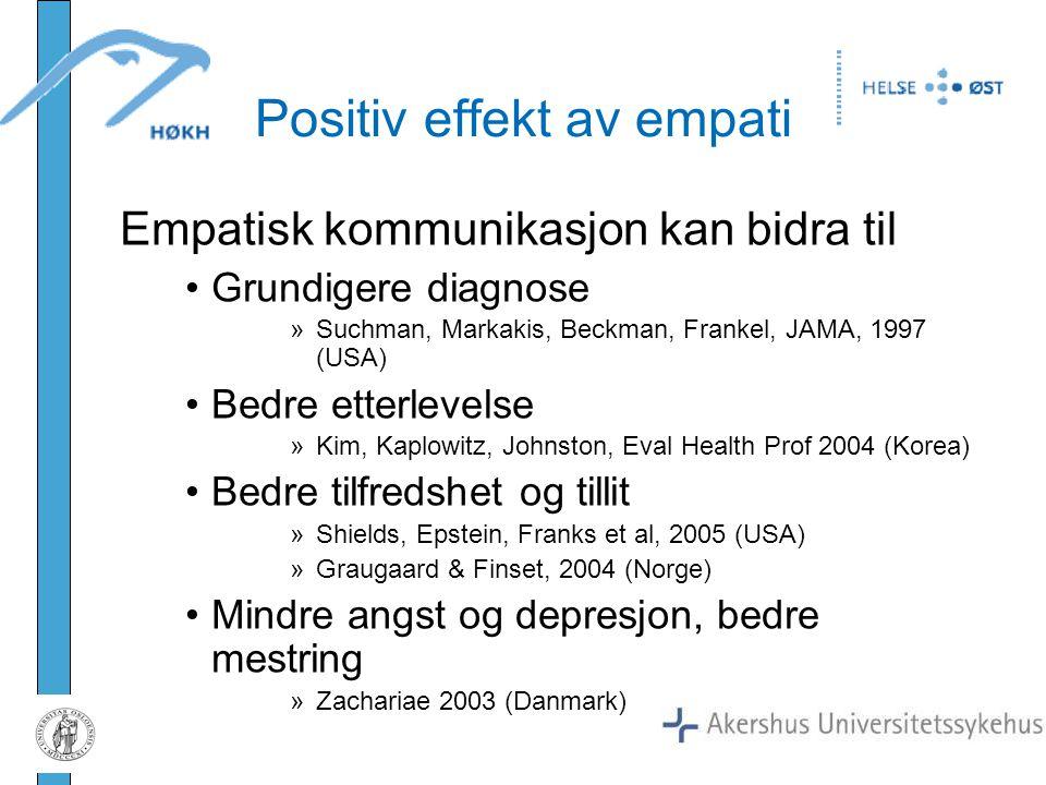 Positiv effekt av empati Empatisk kommunikasjon kan bidra til Grundigere diagnose »Suchman, Markakis, Beckman, Frankel, JAMA, 1997 (USA) Bedre etterle