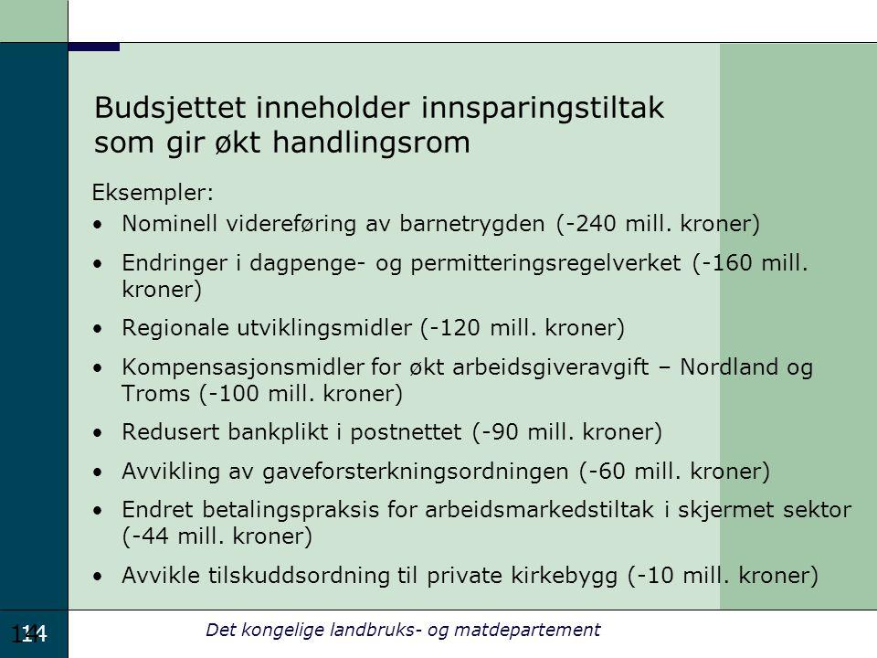 14 Det kongelige landbruks- og matdepartement Budsjettet inneholder innsparingstiltak som gir økt handlingsrom Eksempler: Nominell videreføring av barnetrygden (-240 mill.