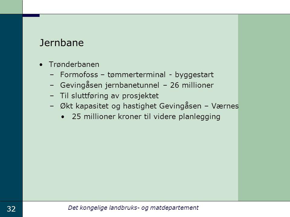 32 Det kongelige landbruks- og matdepartement Jernbane Trønderbanen –Formofoss – tømmerterminal - byggestart –Gevingåsen jernbanetunnel – 26 millioner –Til sluttføring av prosjektet –Økt kapasitet og hastighet Gevingåsen – Værnes 25 millioner kroner til videre planlegging